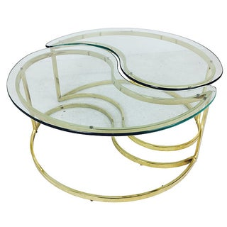 Two Piece Brass Yin & Yang Coffee Table