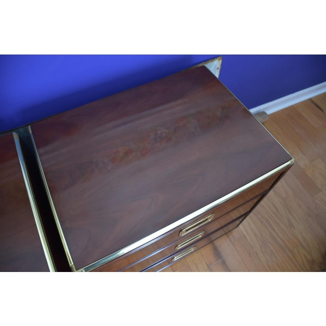 Baker Mid Century Hollywood Regency Walnut & Brass Campaign Bachelors Chests - a Pair - Image 6 of 8