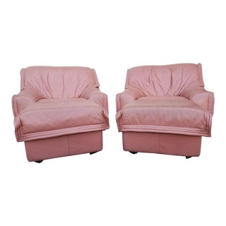 Dusty Rose Leather Lounge Chairs - A Pair