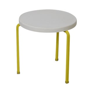Mid Century Modern Round White & Yellow Patio Side Table
