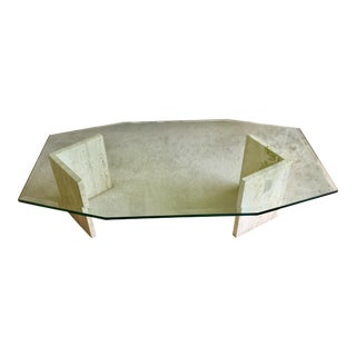 Travertine Base Glass Coffee Table