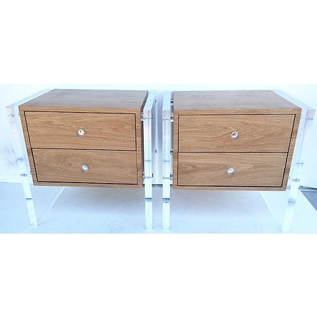 Mid-Century Floating Lucite Nightstands - Pair - Image 2 of 6