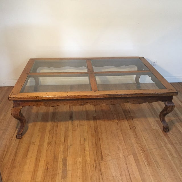 Queen Anne Glass Top Coffee Table - Image 2 of 6