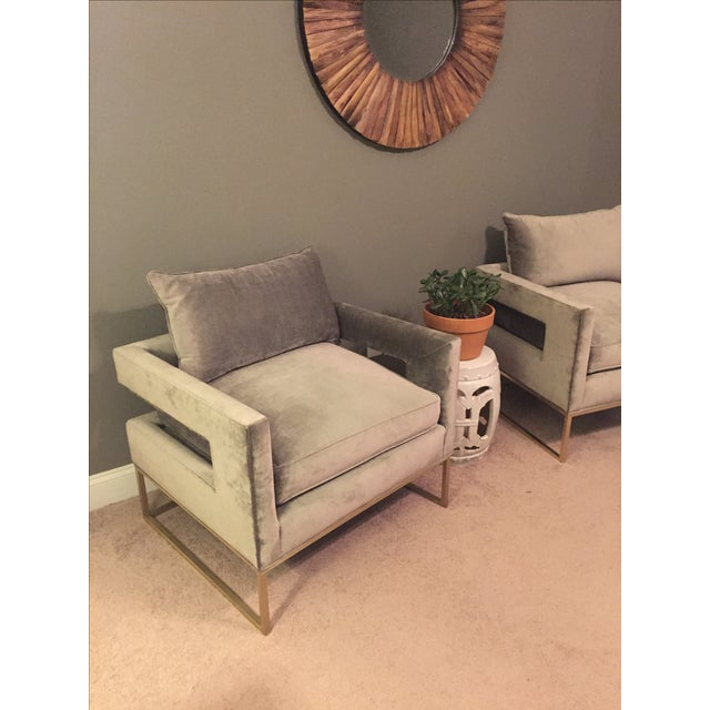 Velvet Gray Accent Chairs A Pair Chairish