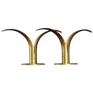 "Brass Candleholders ""Liljan"" by Ivar Ålenius Björk for Ystad Metal Sweden"