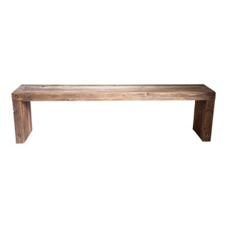Vintage Wood Parsons Dining Entry Bed Bench Coffee Table