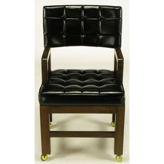 Black Button Tufted Mahogany Frame Desk Chair - Image 2 of 8