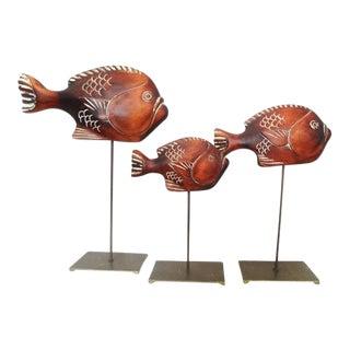 1977 Sarreid Ltd. Nautical Wooden Fish Sculptures - Set of 3
