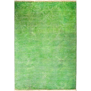 """Vibrance, Hand Knotted Green Wool Area Rug - 4' 2"""" X 6' 1"""""""