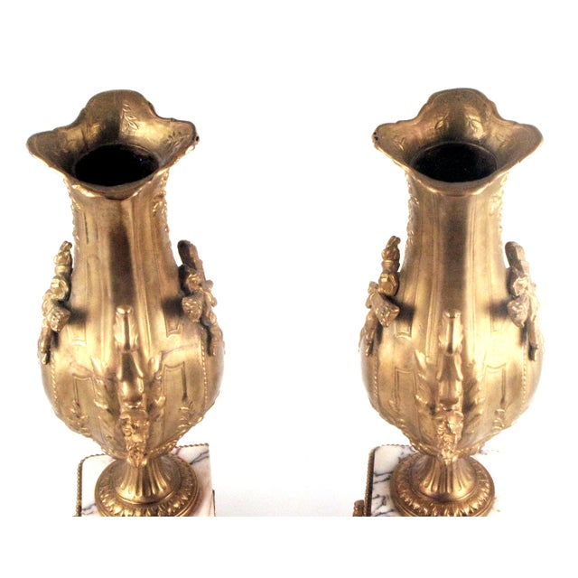Image of French Gold Gilt Urn Garniture Vases - A Pair