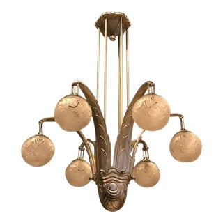 Large French Art Deco Chandelier Signed by Muller Freres Luneville