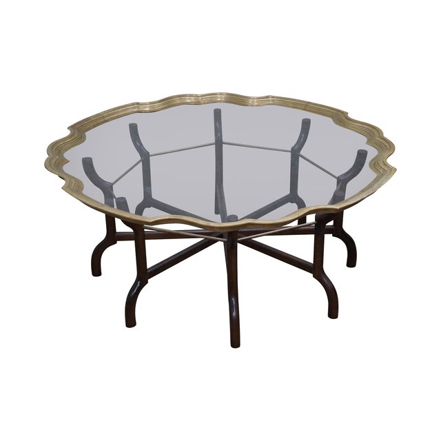 Brass glass tray top coffee table by baker chairish Baker coffee table