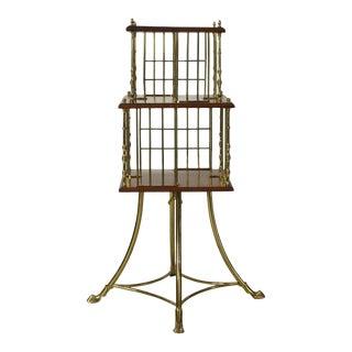 Brass & Mahogany Edwardian Revolving Bookstand