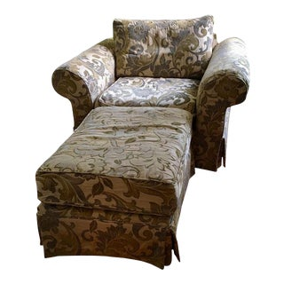 Tan Floral Upholstered Chair With Ottoman