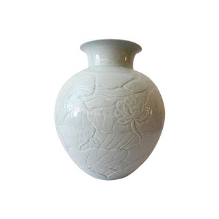 LG Celadon Moon Vase w/ Lotus Flower