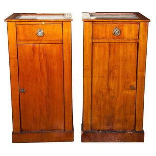 Antique Biedermeier Style Nightstands - A Pair