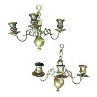 Spooky Vintage Brass Candelabra Sconces - a Pair