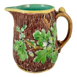 Minton English Majolica Rustic Oak Leaf & Snail Pitcher