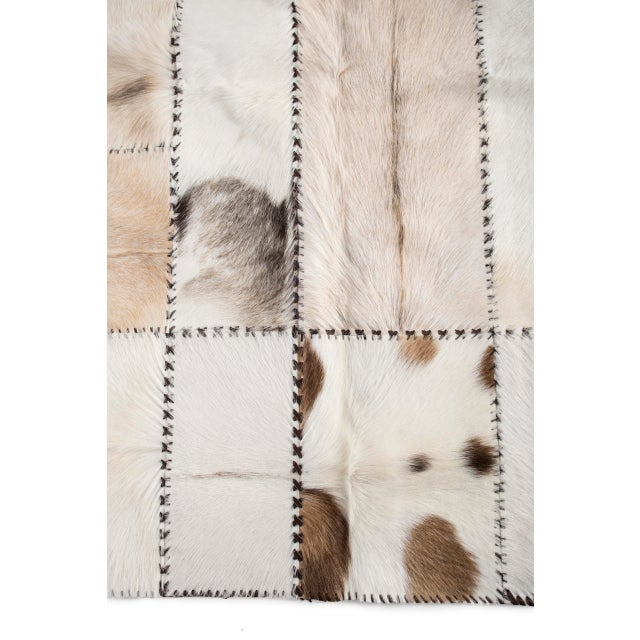 """Hand Stitched Goatskin Patchwork Area Rug - 5'1"""" x 8'1"""" - Image 3 of 9"""