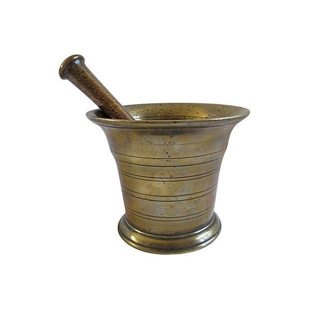 Antique English Brass Mortar & Pestle - A Pair - Image 1 of 2
