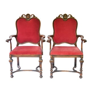 Bohemian Red Velvet Dining/Accent Chairs - A Pair