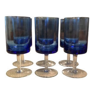 Modernist Blue Wine Glasses - Set of 6