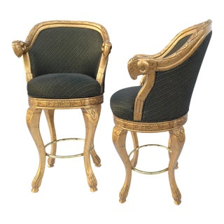 Art Deco Savoy Greek Key Rams Head Swivel Bar Stools - A Pair