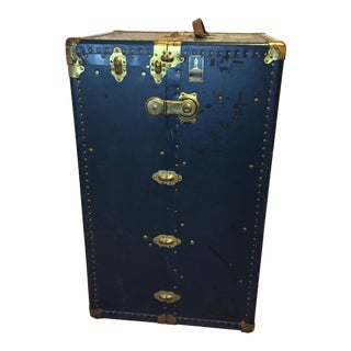 Oshkosh Navy Blue Steamer Wardrobe Trunk