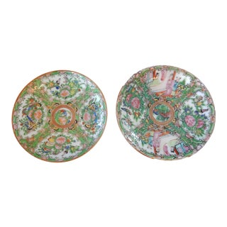 Antique Chinese Export Porcelain Rose Medallion Plates - a Pair