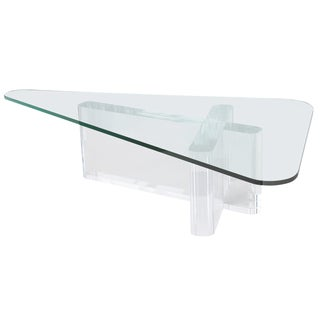 Lion in Frost Sculptural Lucite Coffee Table