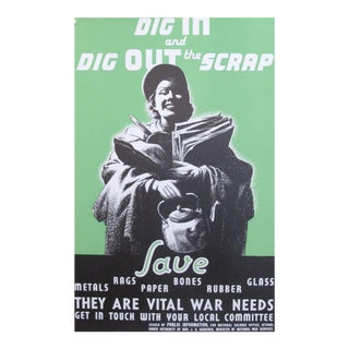 Original Canadian World War II Poster, Dig In/Dig Out