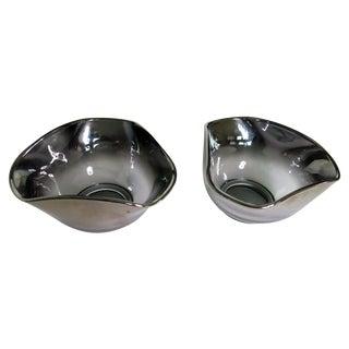Triangular Silver Fade Glass Bowls- Pair