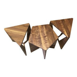 Mid-Century Walnut Side Tables - Set of 3