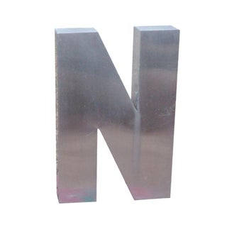 "Antique Industrial Stainless Steel Metal Letter ""N"""
