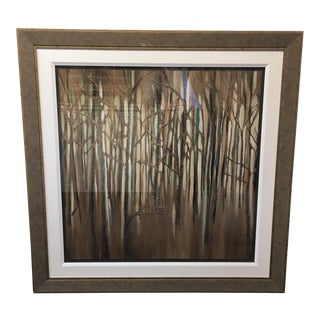 Abstract Print of Trees Matted & Framed