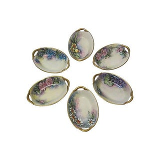 European Hand-Painted Salt Dishes - Set of 6