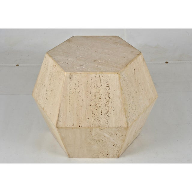 Travertine Marble Polygon Cocktail Table - Image 6 of 6