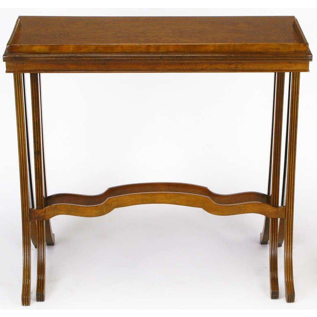 Baker Art Nouveau Style Burled Walnut Nesting Tables - Image 5 of 10
