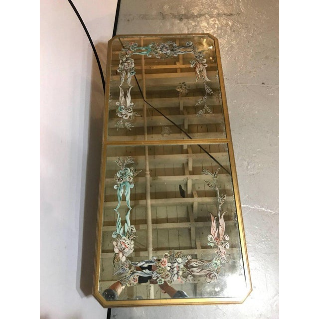 Hollywood Regency Italian Paint Decorated Sliding Mirror Top Coffee Low Table - Image 7 of 10