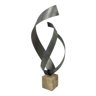 Curtis Jere Ribbon Sculpture on Onyx Base