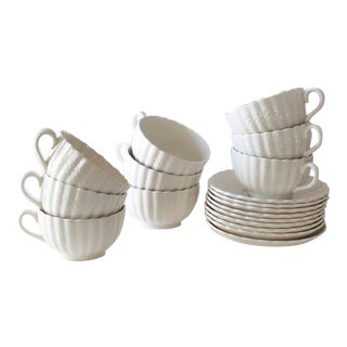 Spode Copeland Woven Pattern Tea Cups and Saucers - Set of 18