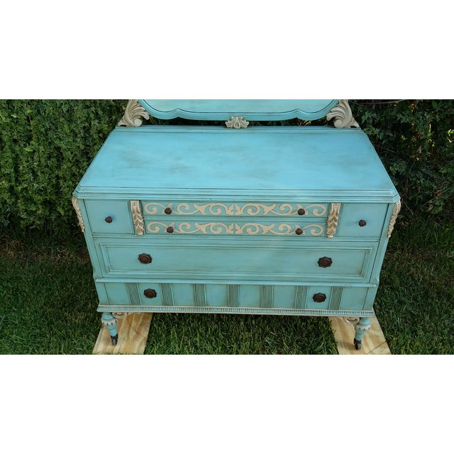 Image of Hand-Painted Depression Era Dresser with Mirror