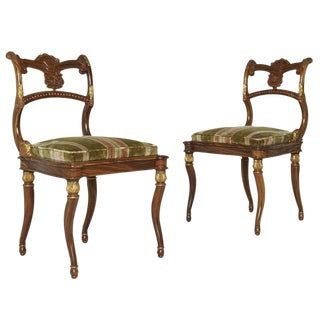 Neoclassical Gilded French Empire Style Chairs - a Pair