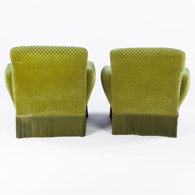 1940s French Green Upholstered Armchairs - A Pair - Image 3 of 10