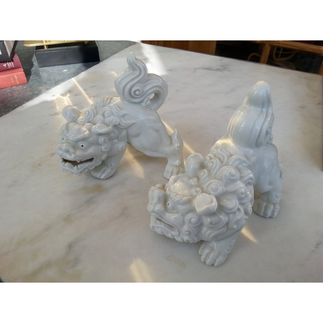 Mid-Century Foo Dogs, Porcelain, Hollywood Regency - Image 2 of 10