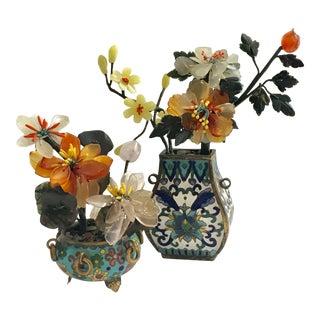 Chinese Jade & Stone Florals & Cloisonné Vases - Pair