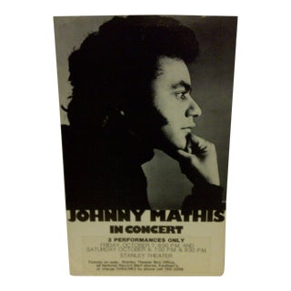 Johnny Mathis Concert Poster, Stanley Theatre 1976