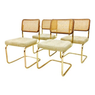 Vintage Cane Back Brass Cantilever Chairs - Set of 4