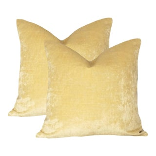 Custom Linen Velvet Pillows in Lemon Cream - a Pair