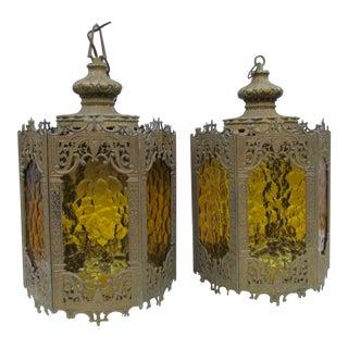Moroccan Brass Boho Glam Amber Hanging Lantern - a Pair Swag Lamp Mid Century